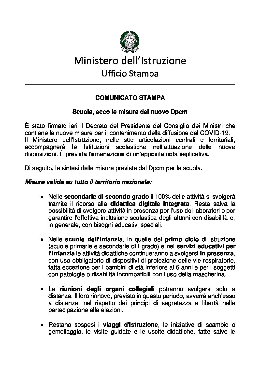 COMUNICATO STAMPA Scuola, ecco le misure del nuovo Dpcm