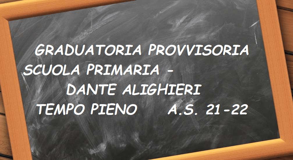 circolare nr. 568  Info. pubblicazione graduatoria provvisoria tempo pieno – SCUOLA PRIMARIA DANTE ALIGHIERI