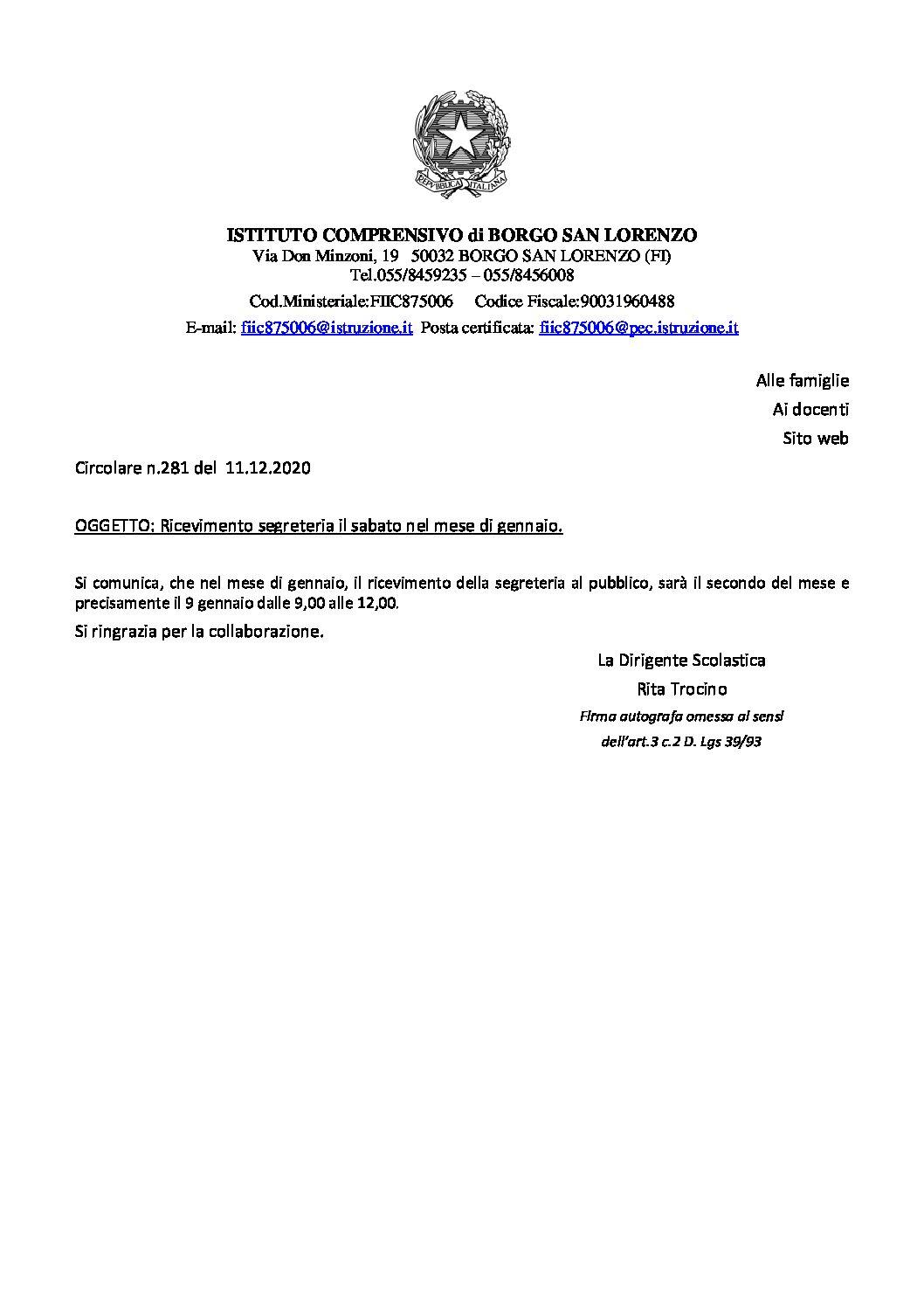 RICEVIMENTO SEGRETERIA SABATO 9/01/20
