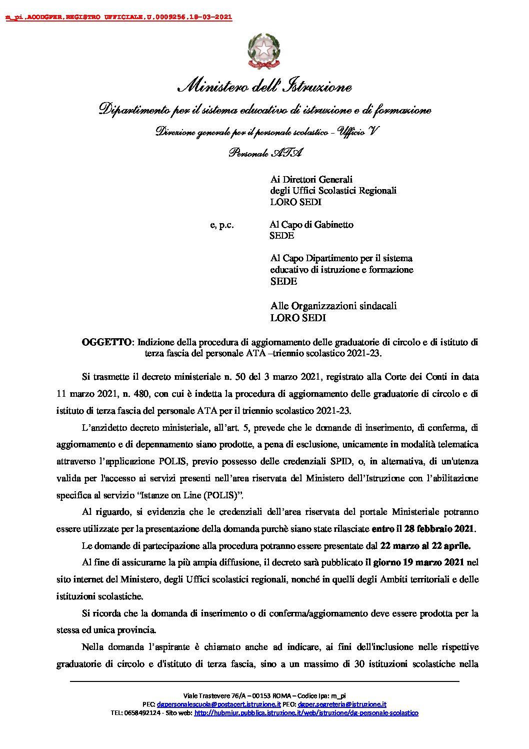 INDIZIONE DELLA PROCEDURA DI AGGIORNAMENTO DELLE GRADUATORIE DI CIRCOLO E DI ISTITUTO DI TERZA FASCIA DEL PERSONALE ATA- TRIENNIO SCOLASTICO 2021