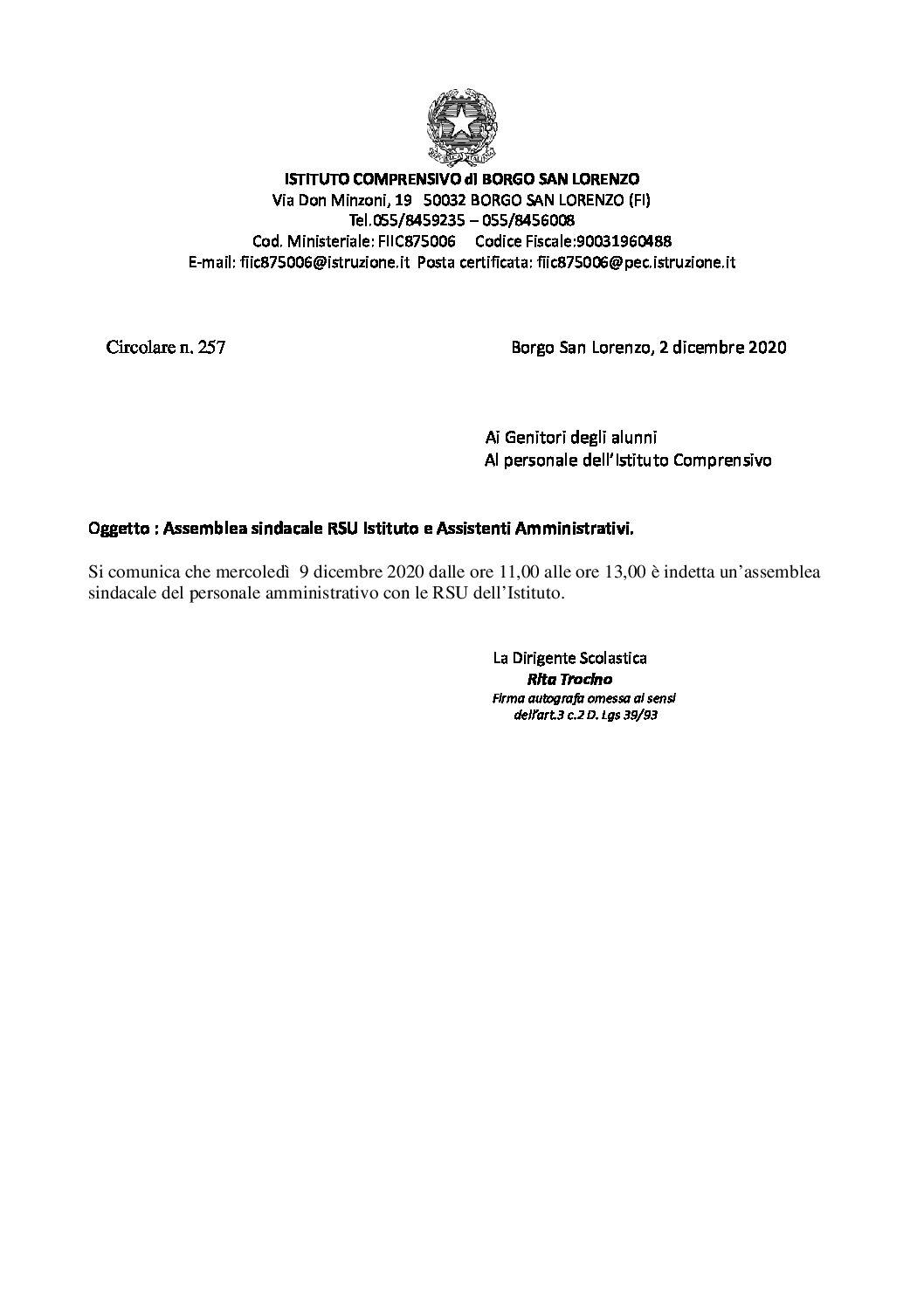 Assemblea sindacale RSU d'Istituto e Assistenti Amministrativi.