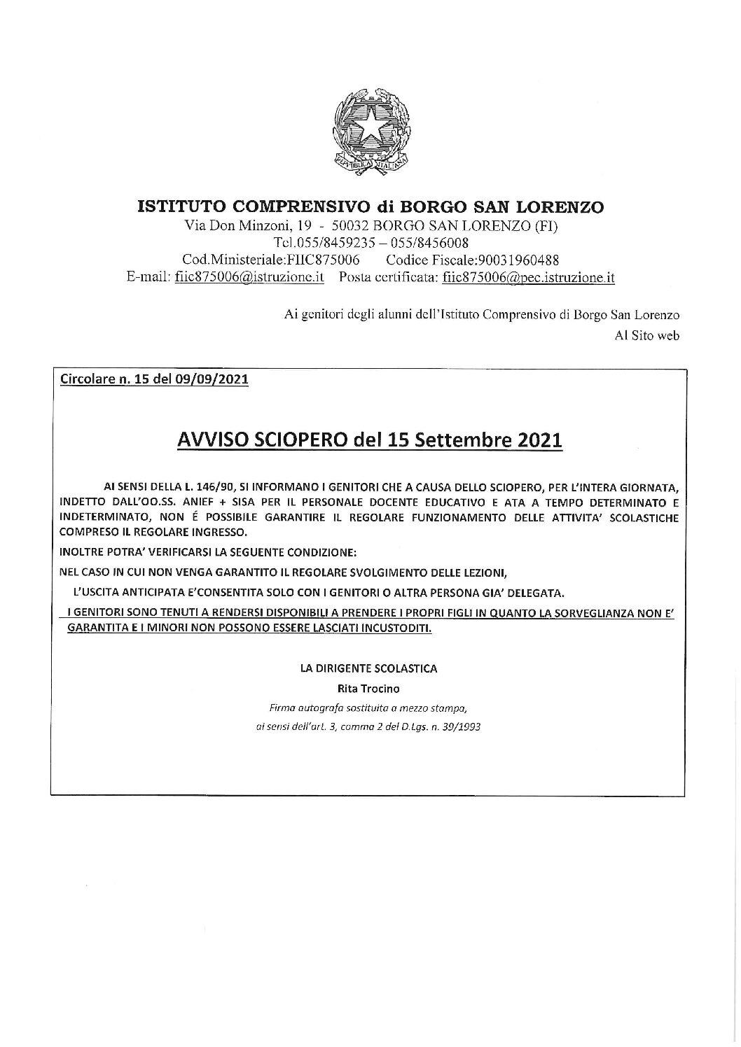 AVVISO AI GENITORI DEGLI ALUNNI E AL PERSONALE DELL'ISTITUTO COMPRENSIVO DI BORGO SAN LORENZO – SCIOPERO DEL 15/09/2021