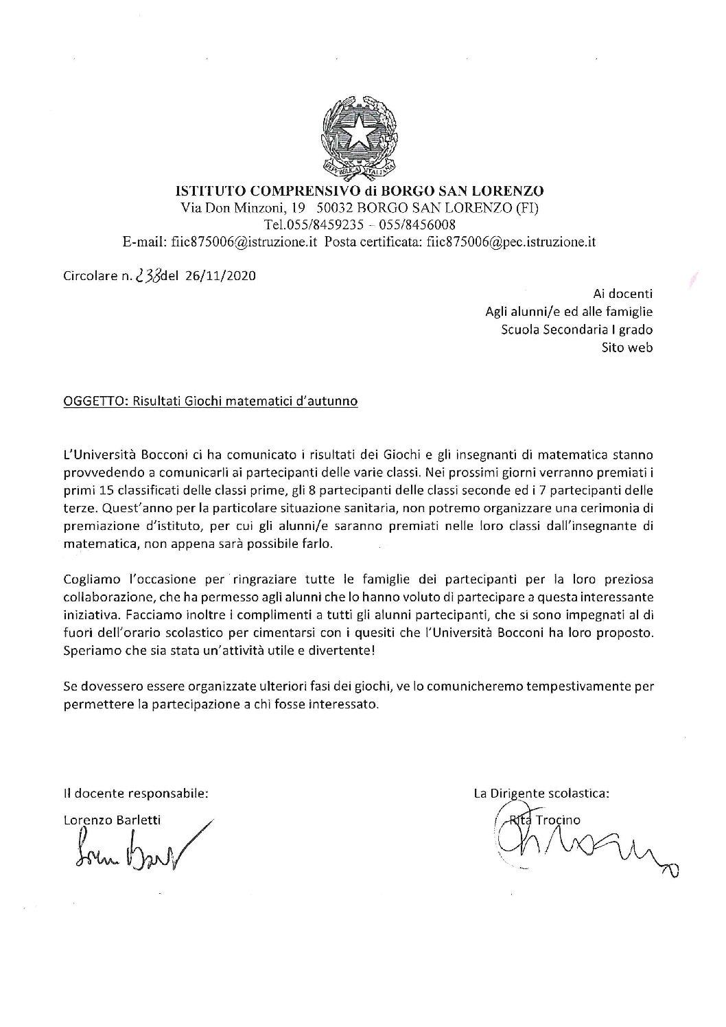 CIRC. 238 – RISULTATI GIOCHI MATEMATICI D'AUTUNNO