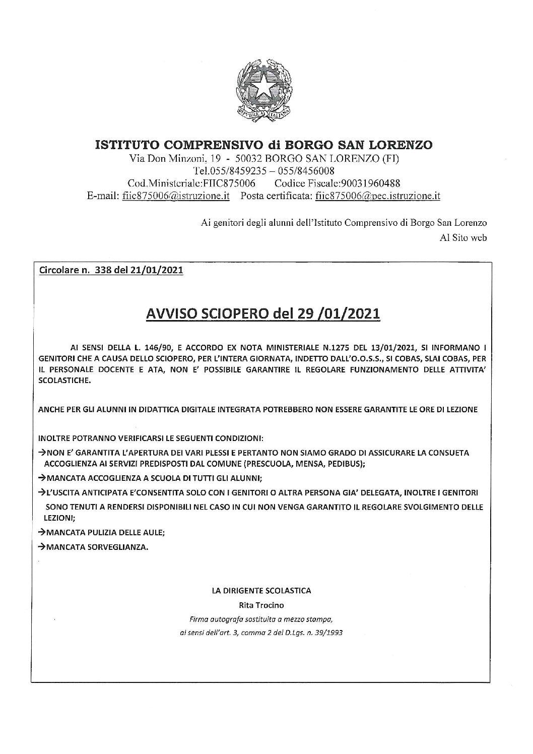 AVVISO SCIOPERO DEL 29-01-2021