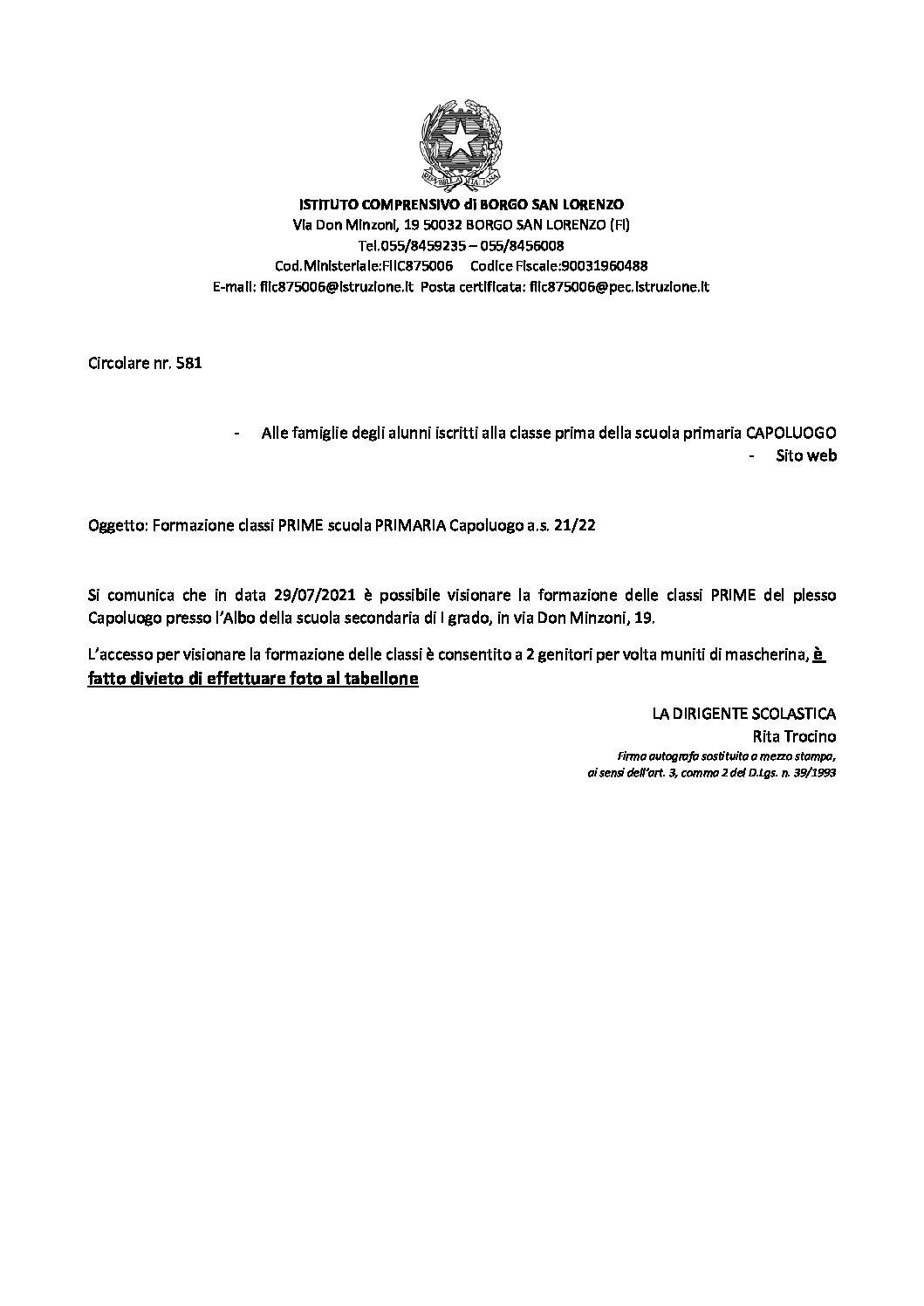 CIRCOLARE NR. 581- Formazione classi PRIME – SCUOLA PRIMARIA DANTE ALIGHIERI a.s. 21/22