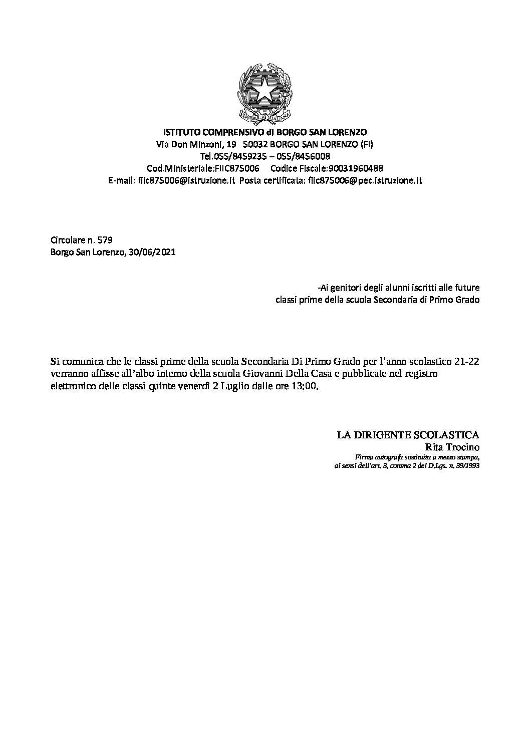 CIRCOLARE NR. 579 – COMUNICAZIONE CLASSI PRIME A.S. 21-22 SCUOLA SECONDARIA DI PRIMO GRADO