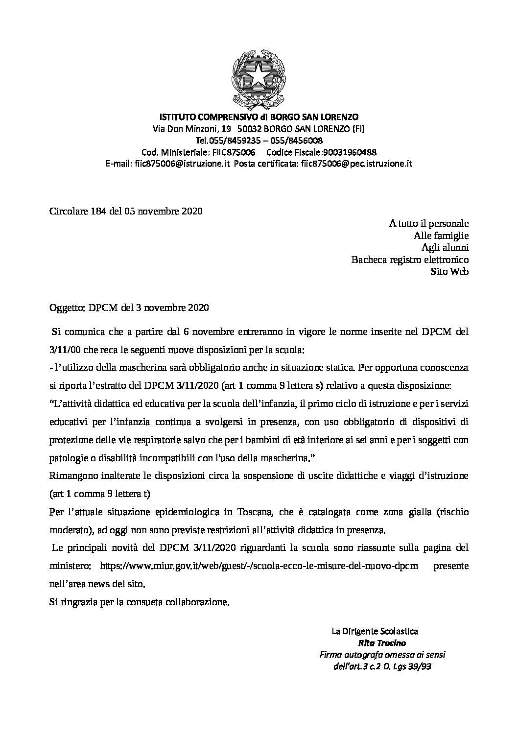 CIRC. 184 – DPCM del 3 novembre 2020