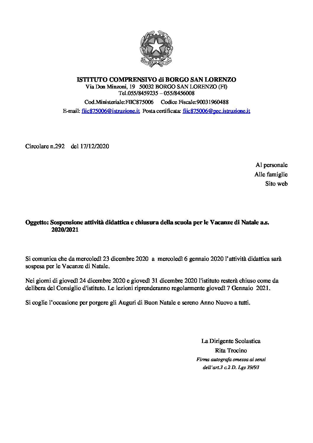 Circ. 292 – Sospensione attività didattica e chiusura della scuola per le Vacanze di Natale a.s. 2020/2021