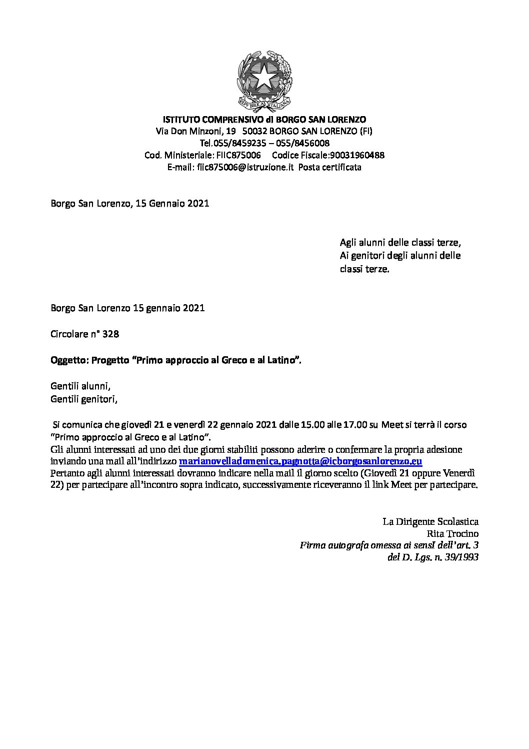 Circolare nr. 328 – Progetto Primo approccio al greco e al latino per gli alunni delle classi III della scuola secondaria di primo grado