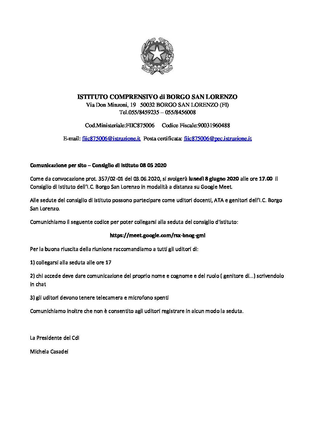 Comunicazione consiglio di istituto 08/06/2020