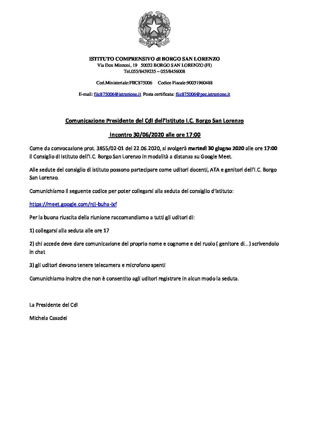 Comunicazione Presidente del CdI dell'Istituto I.C. Borgo San Lorenzo – Incontro 30/06/2020 alle ore 17:00