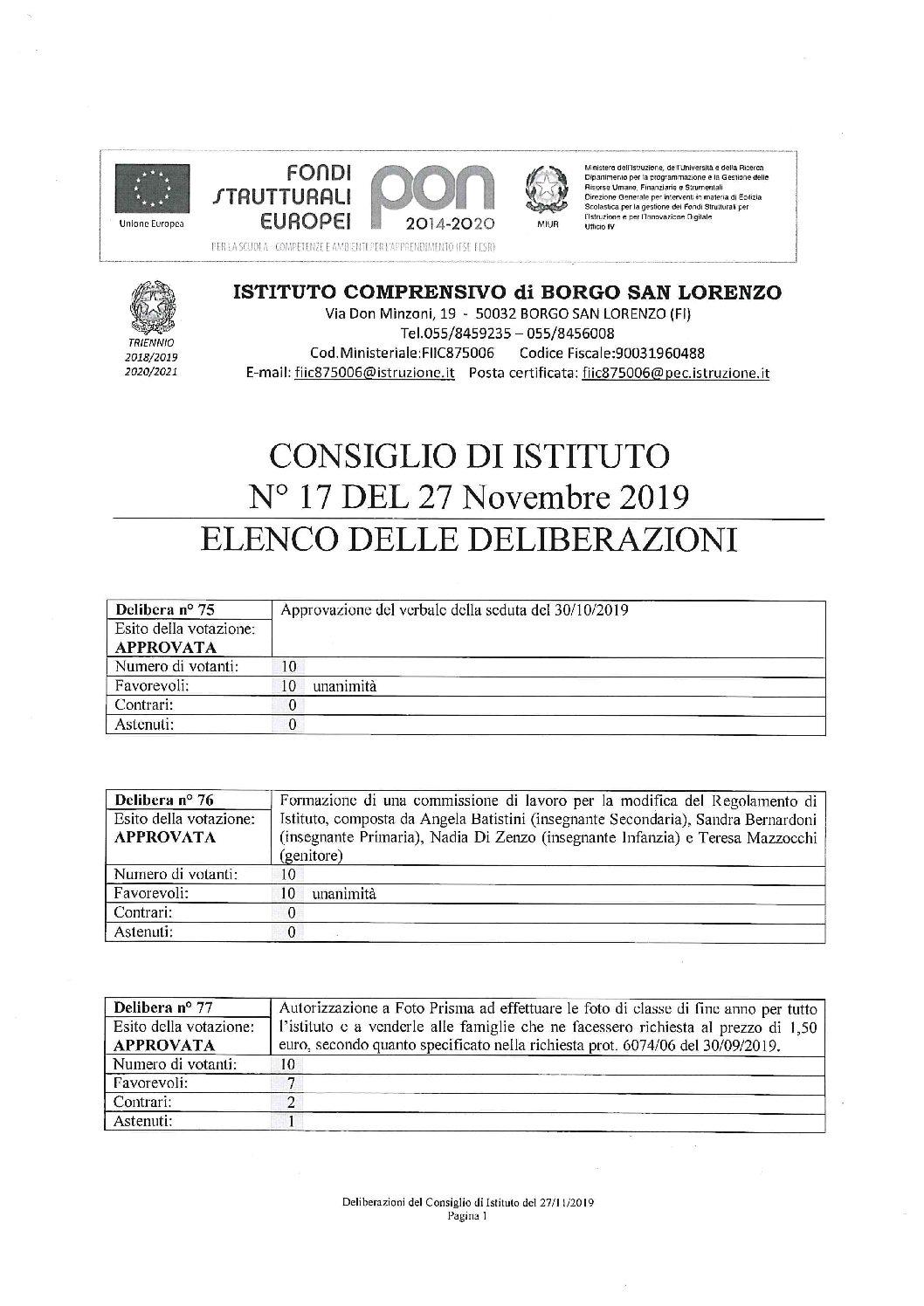 ELENCO DELLE DELIBERAZIONI DEL CONSIGLIO DI ISTITUTO N.17 DEL 27 NOVEMBRE 2019