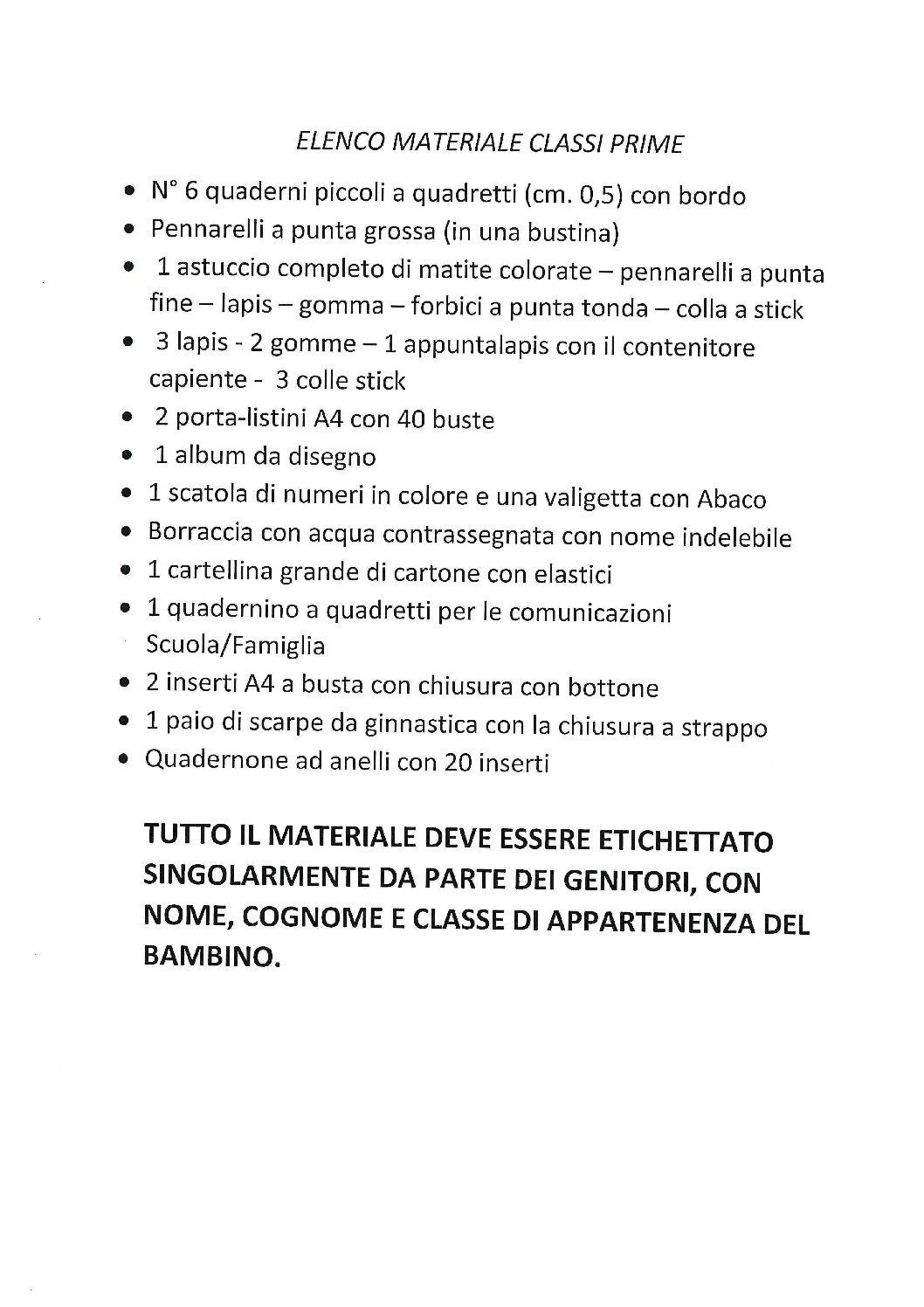"""ELENCO MATERIALE CLASSI PRIME DELLA SCUOLA PRIMARIA """"DANTE ALIGHIERI"""""""