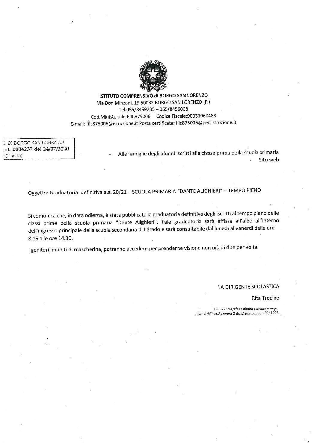 GRADUATORIA DEFINITIVA SCUOLA PRIMARIA A.S. 20/21 – TEMPO PIENO