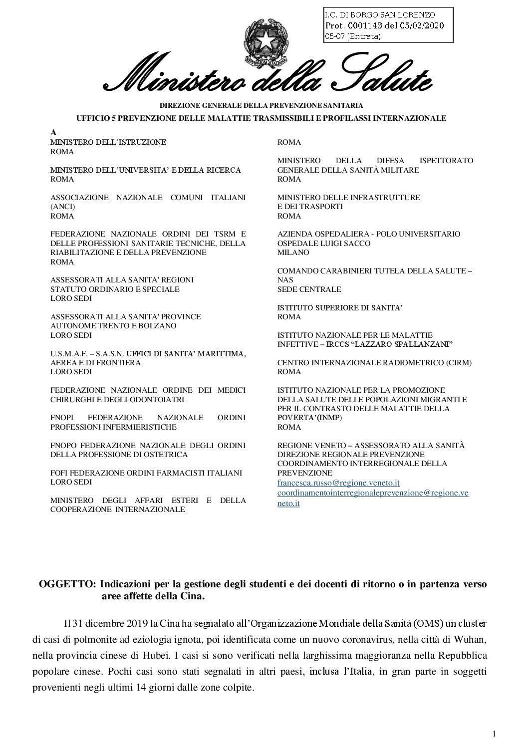 Circolare Ministero Della Salute: indicazioni per la gestione degli studenti e docenti di ritorno o in partenza verso aree affette della Cina.