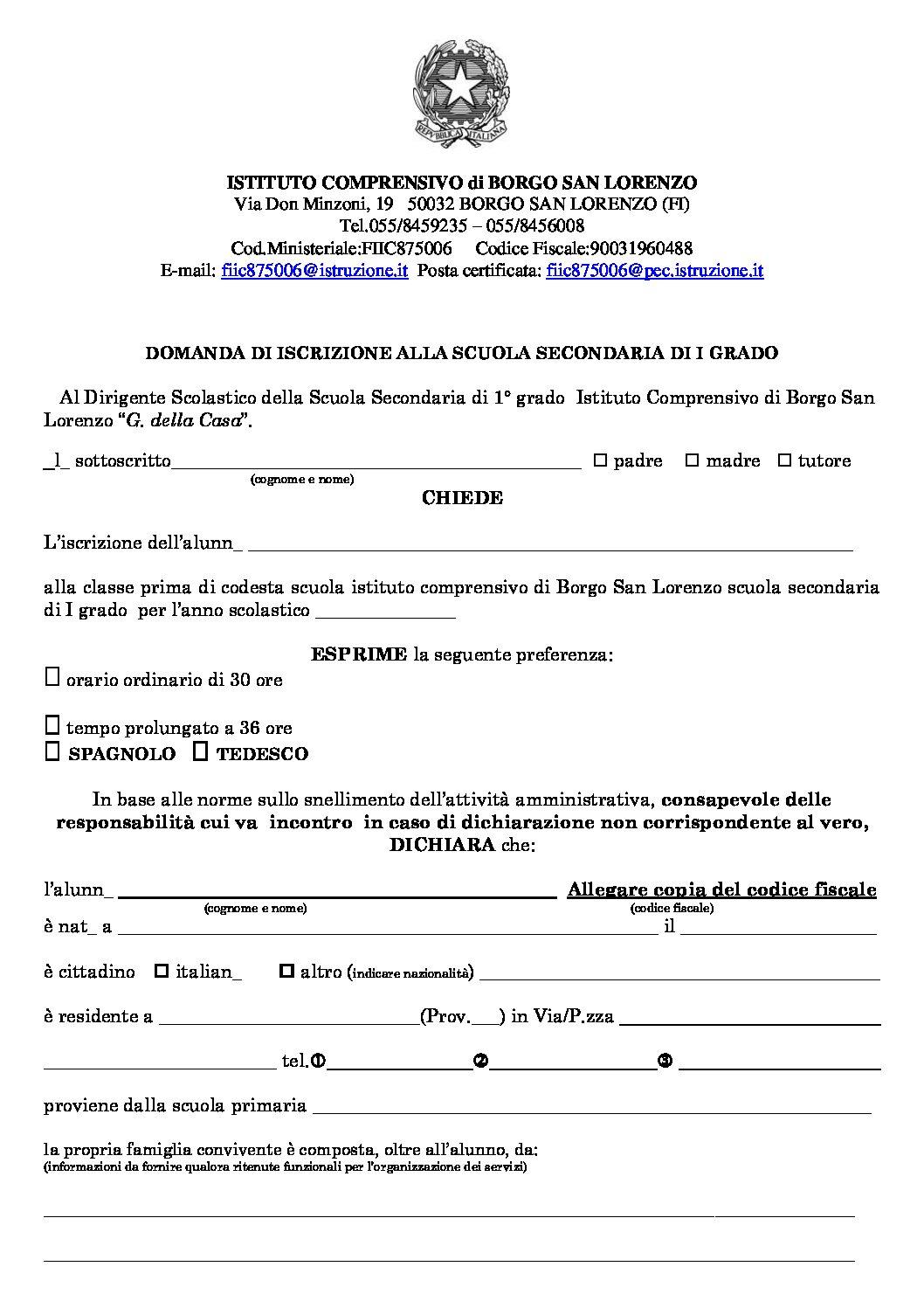 MODULO CARTACEO ISCRIZIONE SCUOLA SECONDARIA DI PRIMO GRADO A.S. 20/21 – Atto di Informazione e Consenso Famiglie