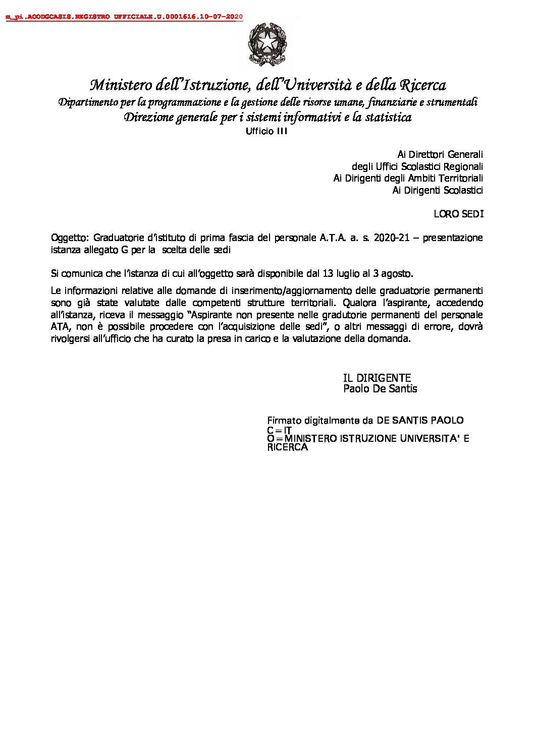Graduatorie d'istituto di prima fascia del personale A.T.A. a. s. 2020-21 – presentazione istanza allegato G per la scelta delle sedi