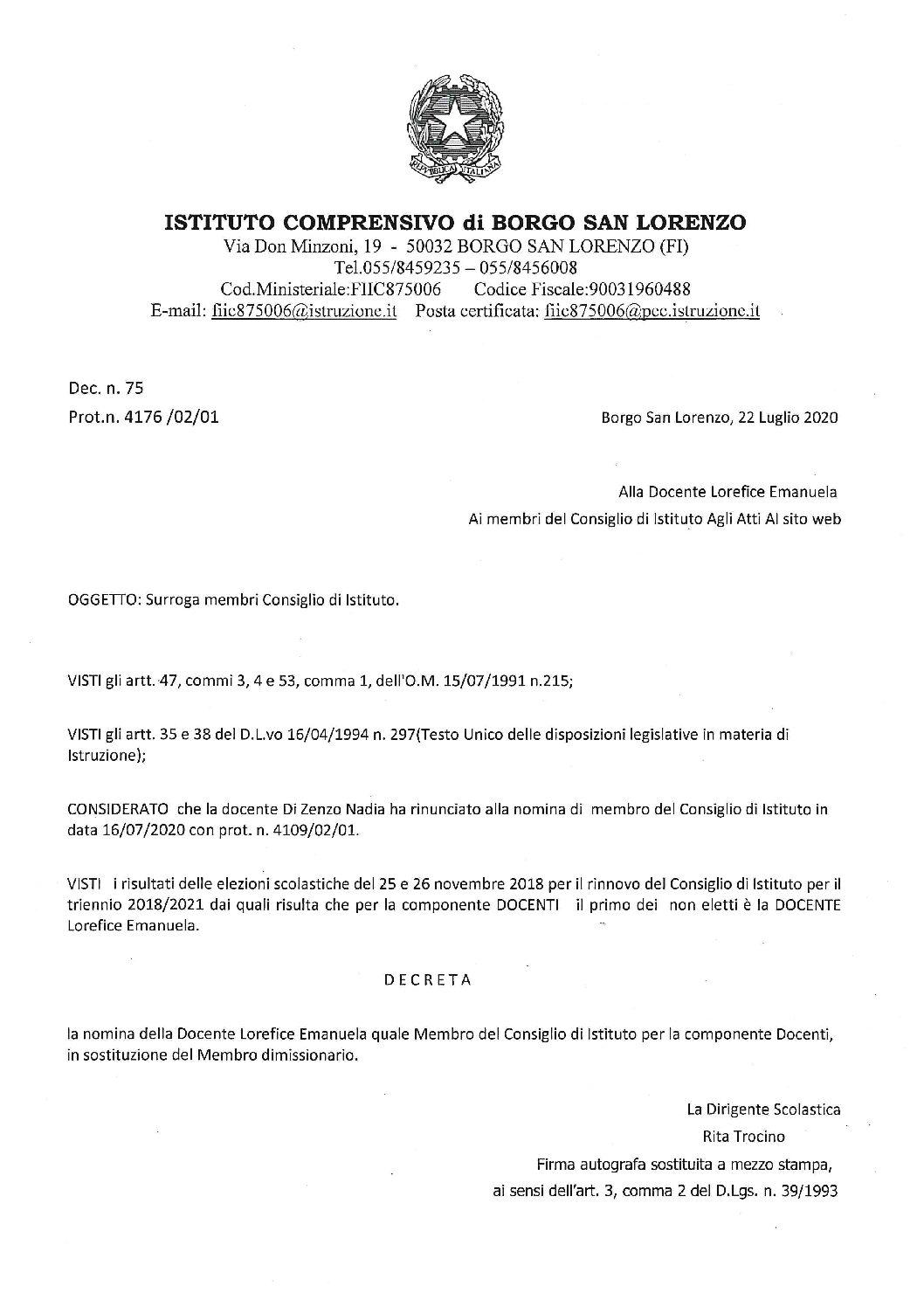 SURROGA MEMBRO CONSIGLIO DI ISTITUTO