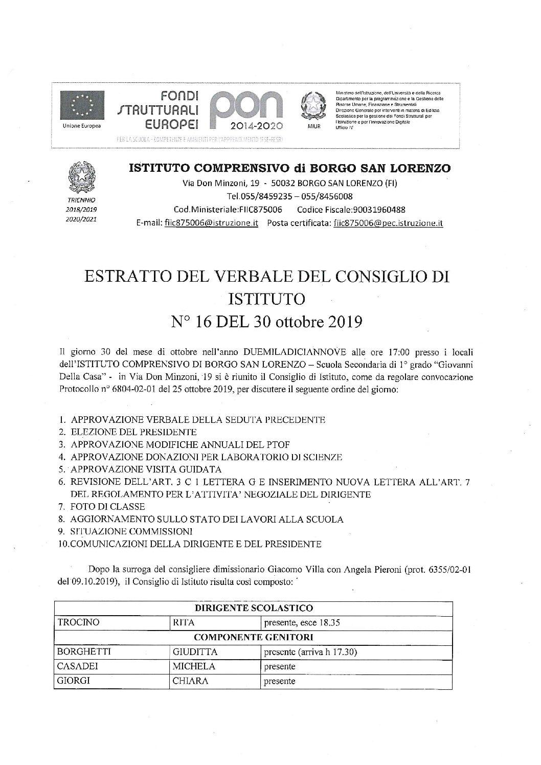 ESTRATTO VERBALE CONSIGLIO D'ISTITUTO N° 16 DEL 30 OTTOBRE 2019