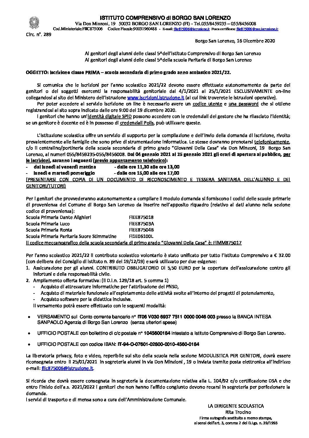 Circ.289 – Iscrizione classe PRIMA – scuola secondaria di primo grado anno scolastico 2021/22