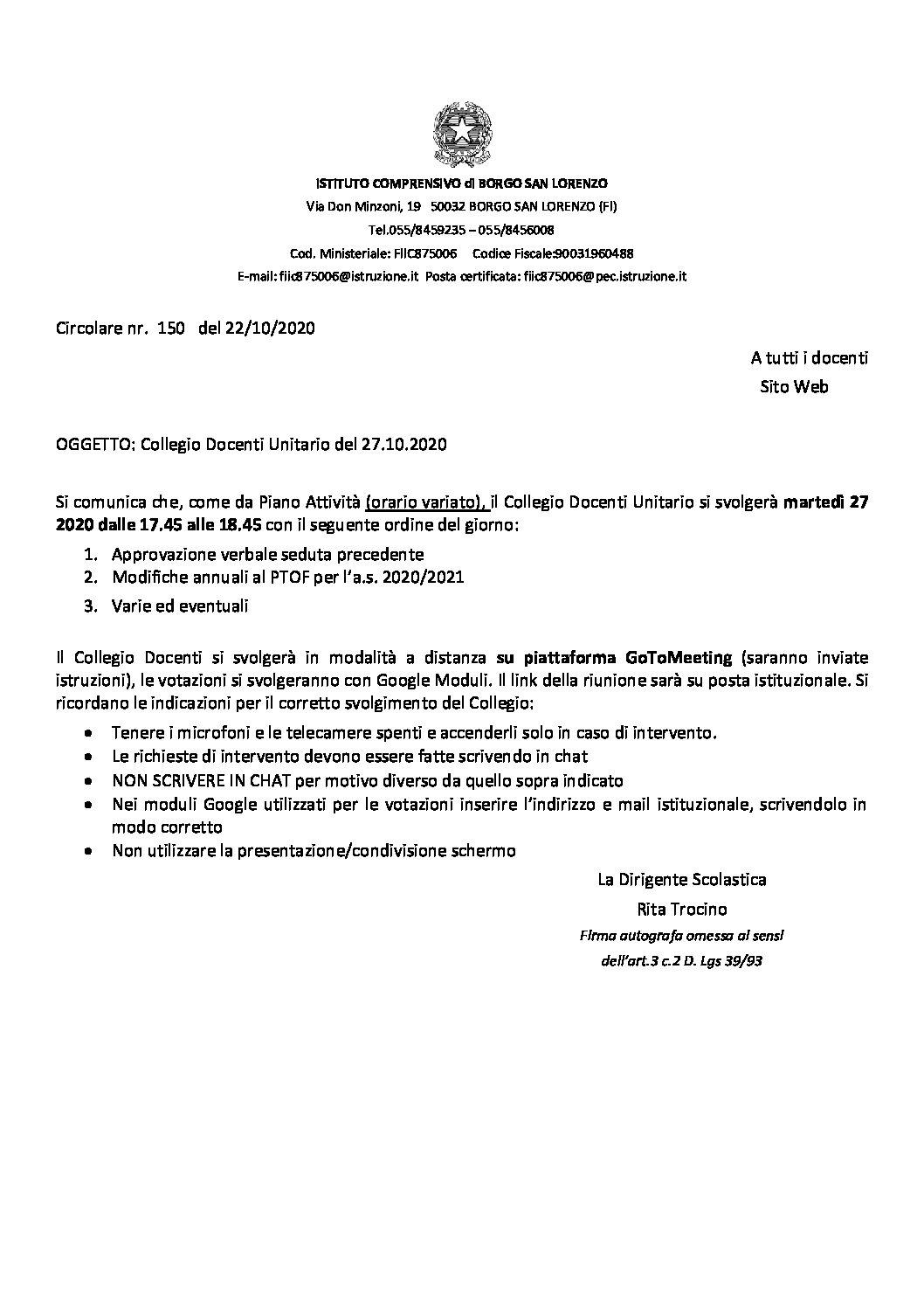 CIRC. 150 – COLLEGIO DOCENTI UNITARIO 27.10.2020