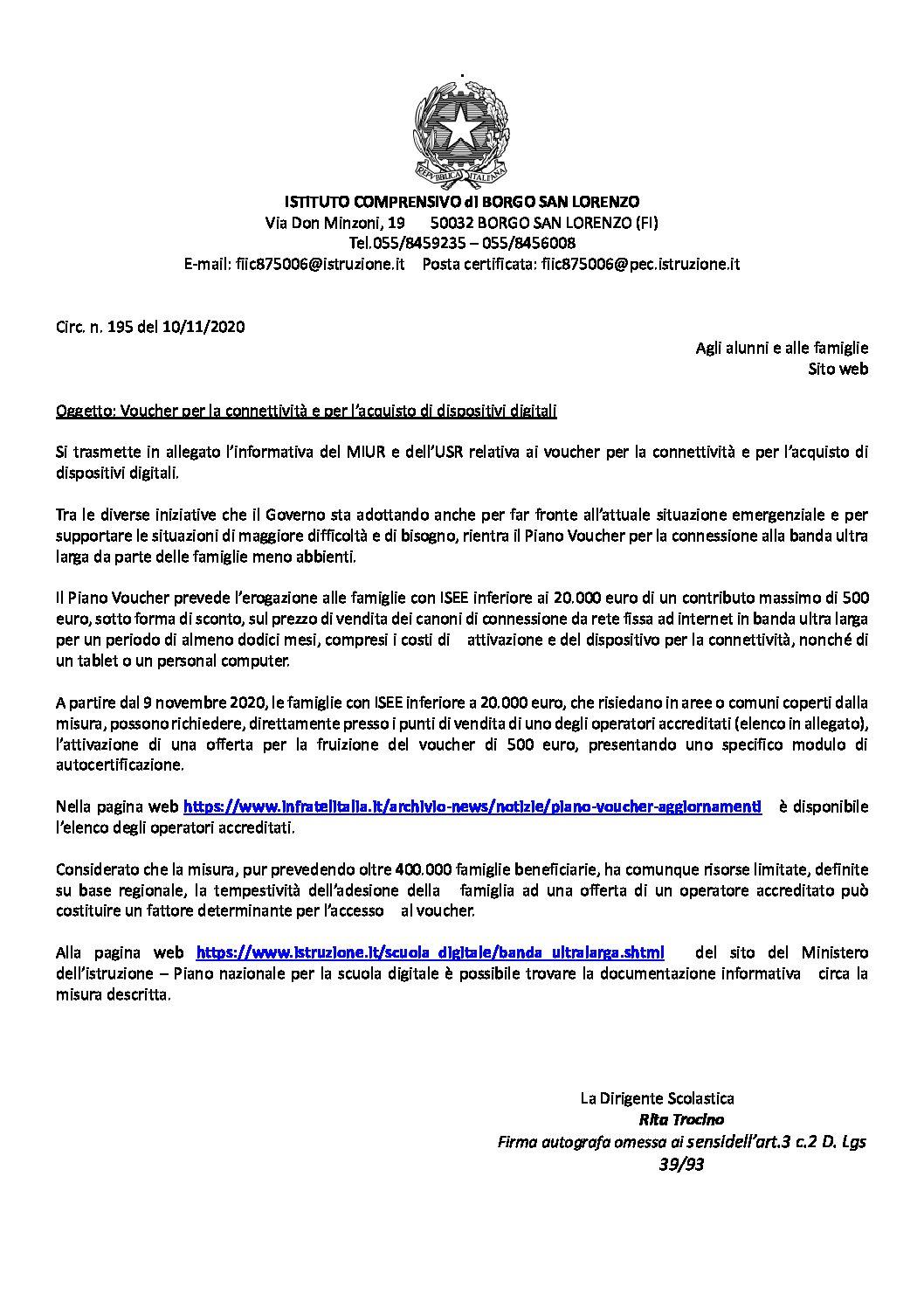 CIRC. 195 – Voucher per la connettività e per l'acquisto di dispositivi digitali
