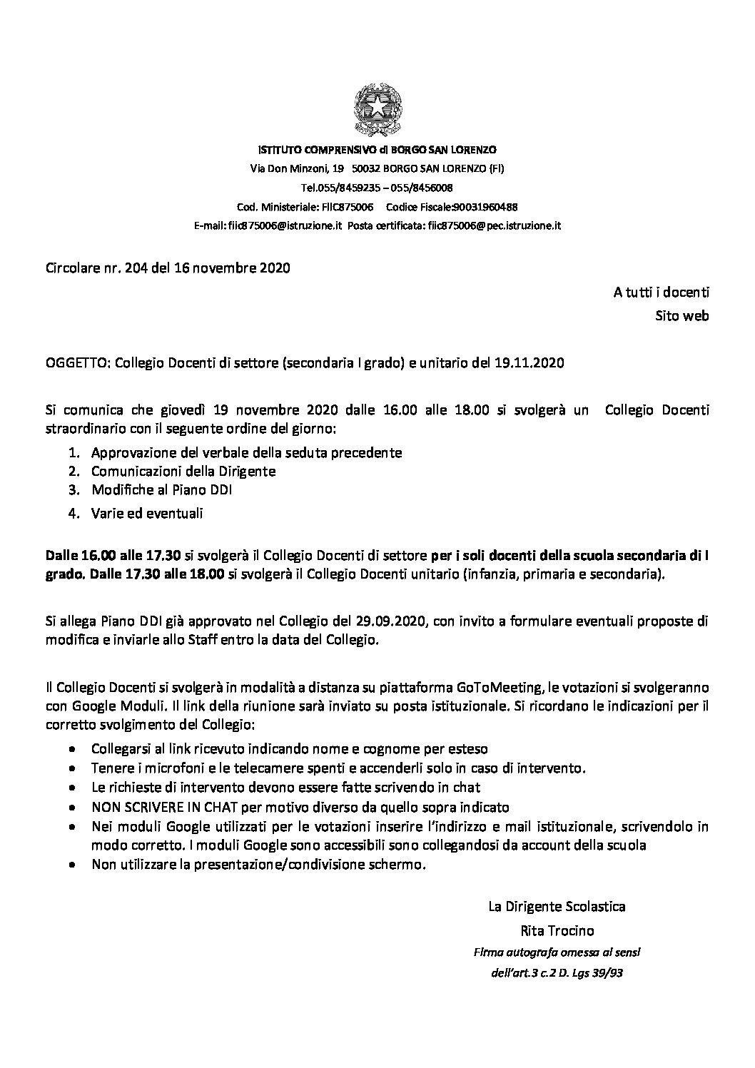 Circ. 204 – Collegio Docenti di settore (secondaria I grado) e unitario del 19.11.2020