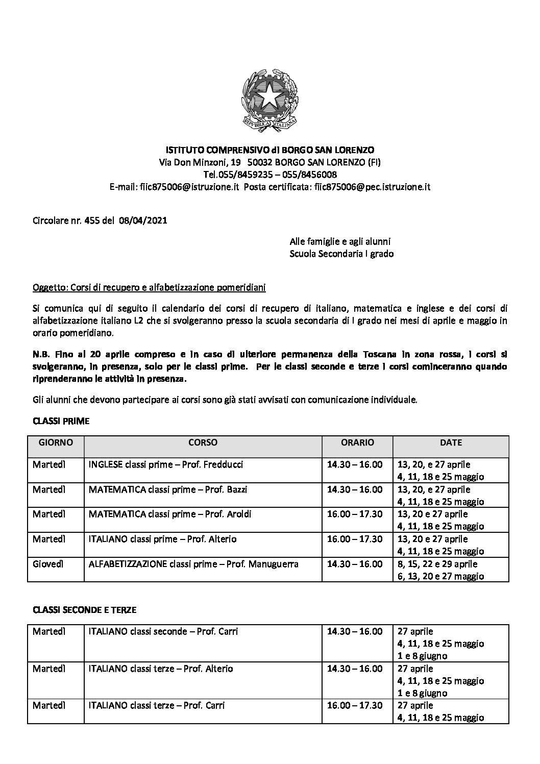 Circolare 455- corsi recupero e alfabetizzazione SCUOLA SECONDARIA DI PRIMO GRADO
