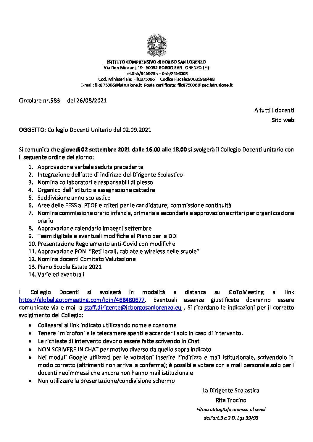circolare nr. 583 collegio docenti 02/09/2021