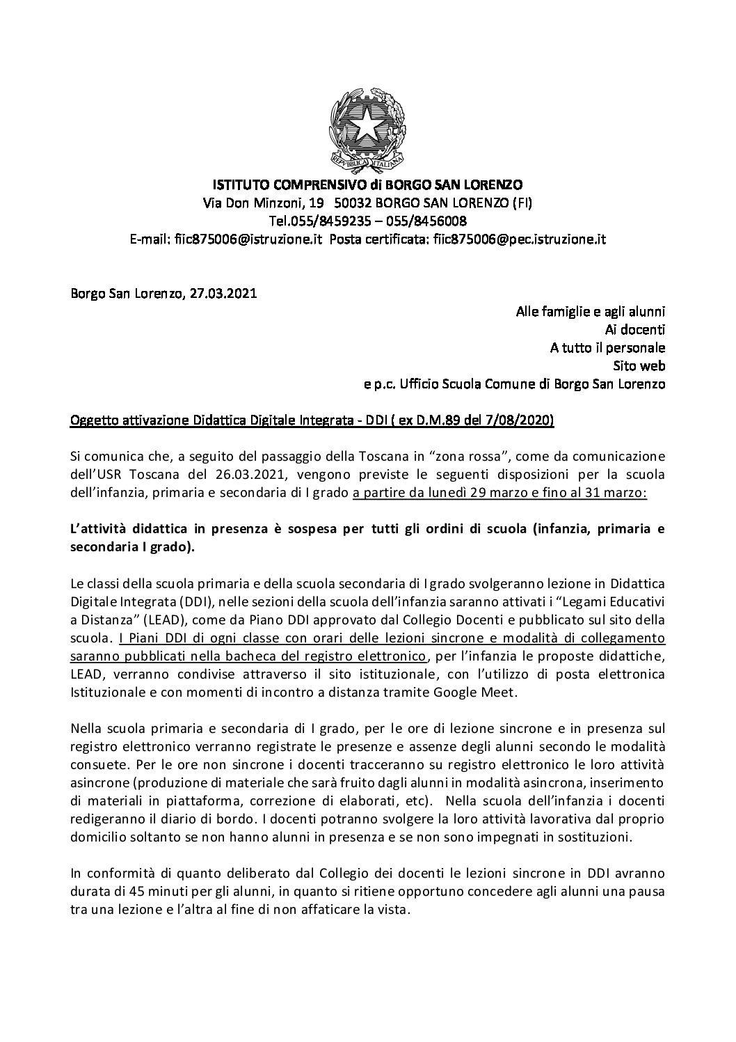 Attivazione Didattica Digitale Integrata – DDI ( ex D.M.89 del 7/08/2020)