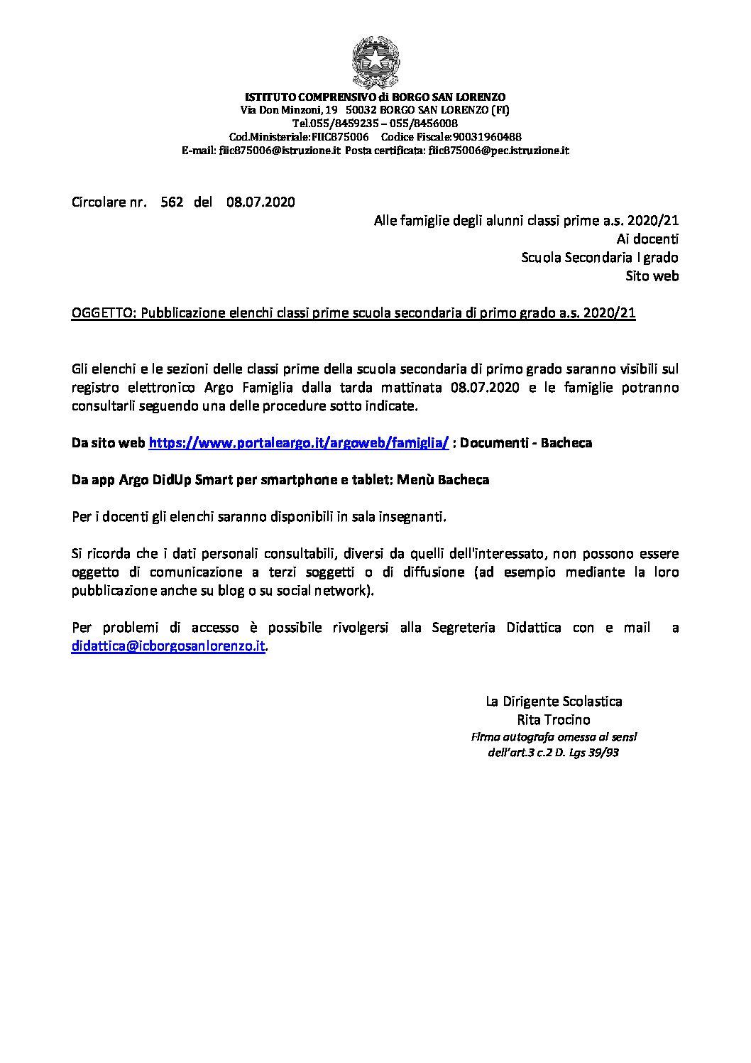 PUBBLICAZIONE ELENCHI CLASSI PRIME SCUOLA SECONDARIA DI PRIMO GRADO A.S. 2020/21