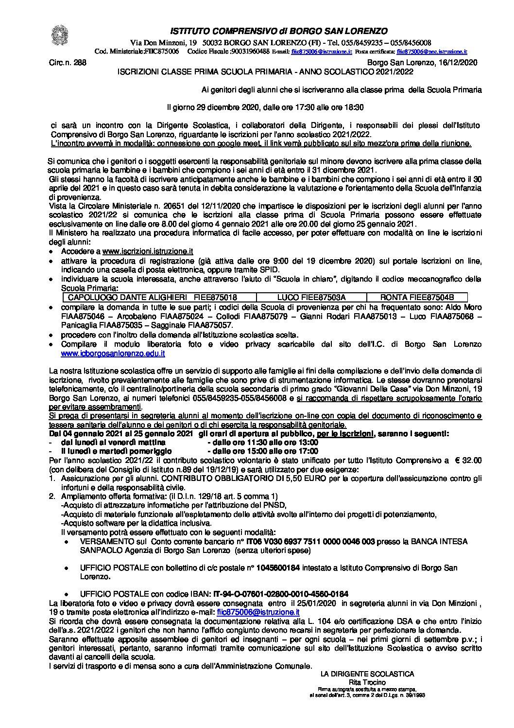 CIRC.288 – ISCRIZIONI CLASSE PRIMA SCUOLA PRIMARIA – ANNO SCOLASTICO 2021/2022
