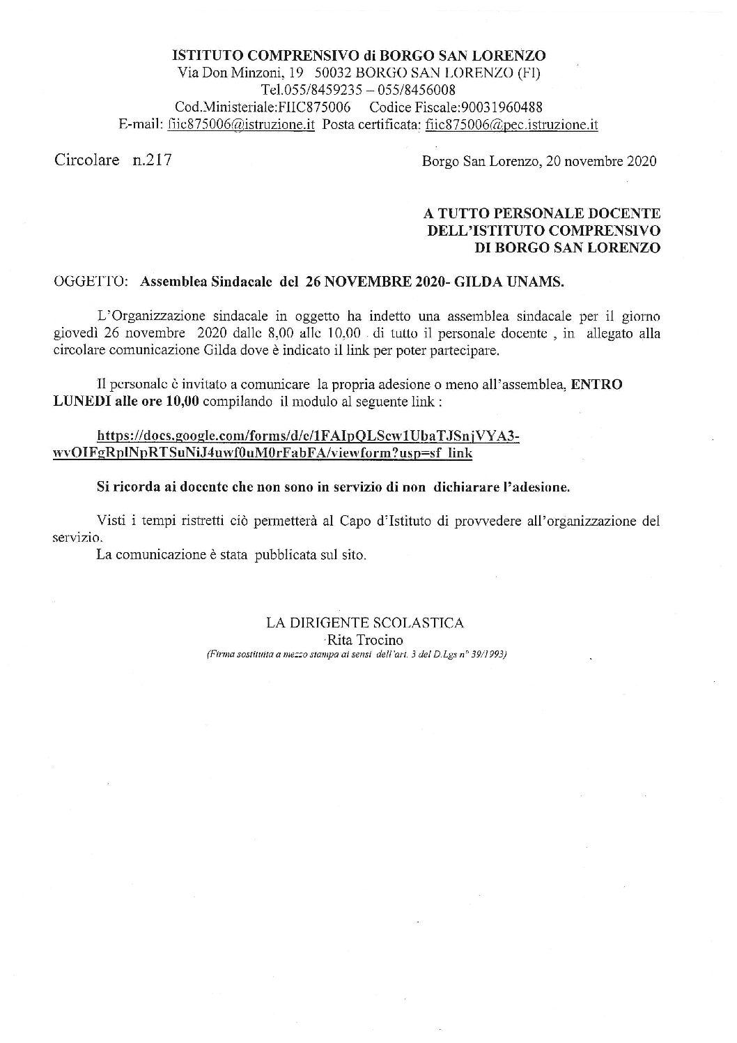 Assemblea sindacale 26/11/2020