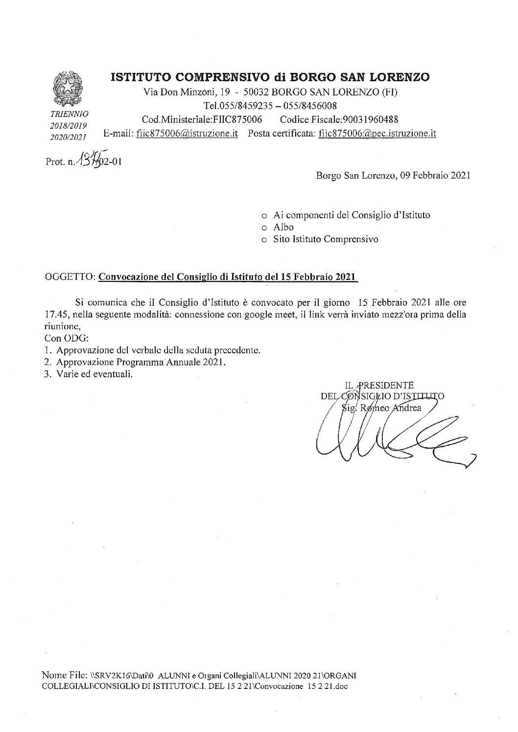 CONVOCAZIONE DEL CONSIGLIO DI ISTITUTO 15/02/2021