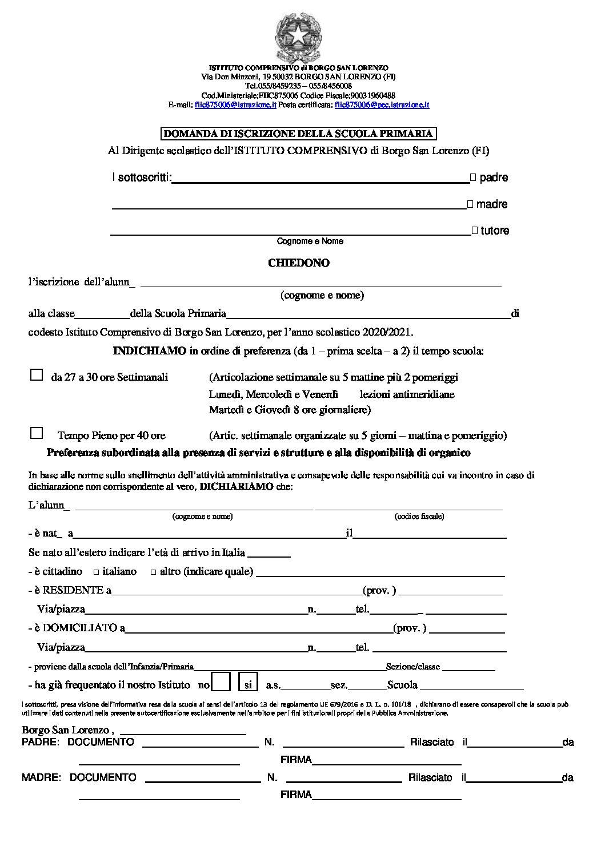 MODULO CARTACEO ISCRIZIONE SCUOLA PRIMARIA A.S. 20/21 – Atto di Informazione e Consenso Famiglie