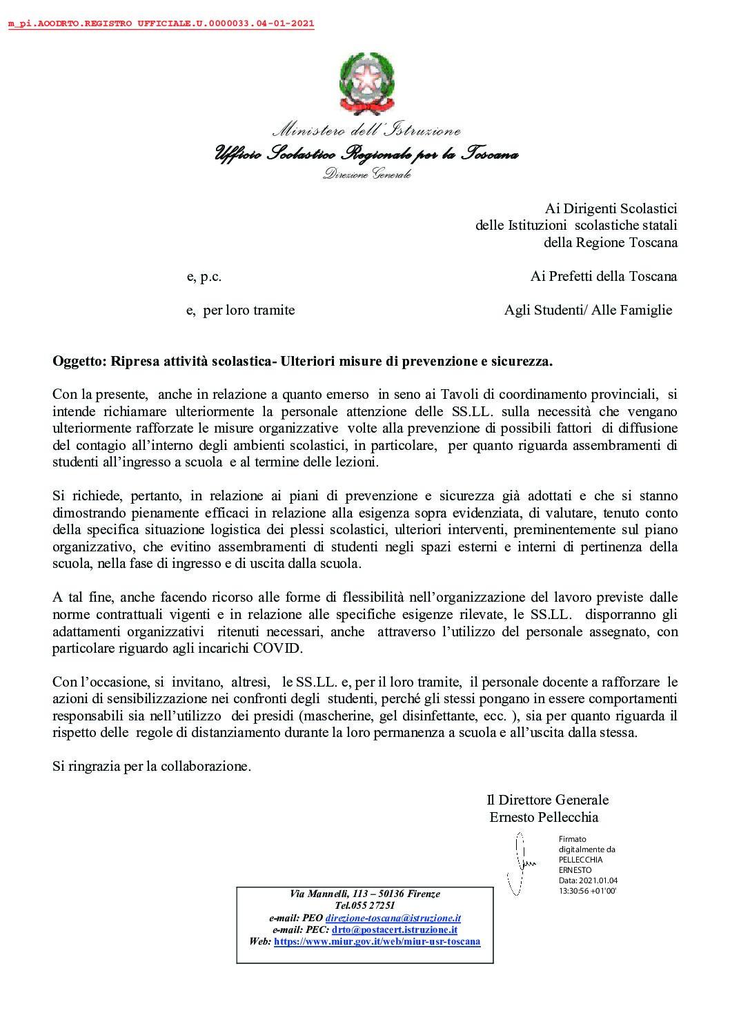 Nota dell'USR della Toscana:Ripresa attività scolastica- Ulteriori misure di prevenzione e sicurezza