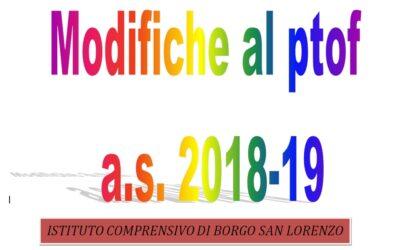 Modifiche al PTOF anno scolastico 2018/2019