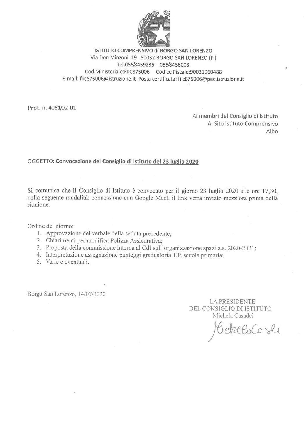 CONVOCAZIONE DEL CONSIGLIO DI ISTITUTO DEL 23 LUGLIO 2020